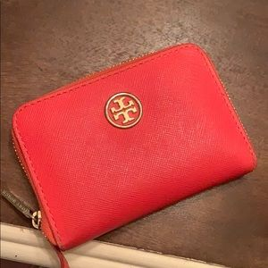 Red/orange Tory Burch key and card holder